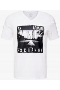 ARMANI EXCHANGE Biała Koszulka Roadtrip V-Neck