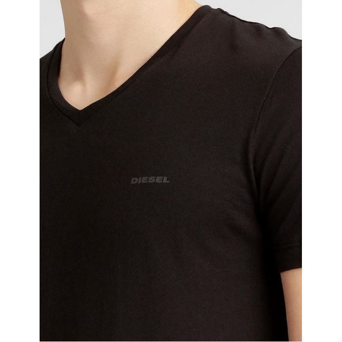 DIESEL Czarna Koszulka V-neck Klasyczna