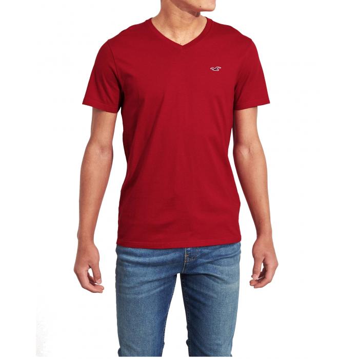HOLLISTER California Red Tshirt Czerwony V-Neck