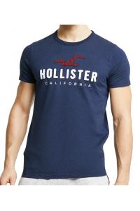 HOLLISTER California Navy Tshirt Granatowy O-Neck Duże Logo