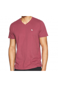 ABERCROMBIE FITCH Burgundowy T-Shirt _ V-Neck _