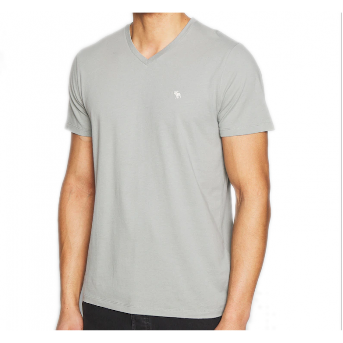 ABERCROMBIE FITCH Szary T-Shirt V-Neck Serek